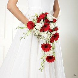Crimson Gerbera & Orchid Shower Bridesmaid Bouquet