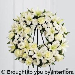 Standing White Tribute Wreath