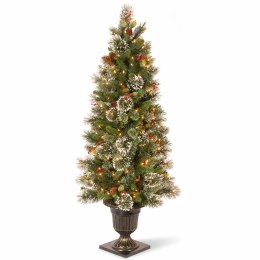 Wintry Pine 5 Foot Pre-Lit Artificial Christmas Tree With 100 Warm White Lights  & Frosted Tips