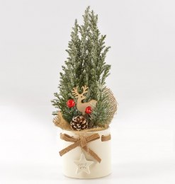 Potted Snow Sprayed Ellwoodii in Ceramic pot with Christmas Decoration 30cm