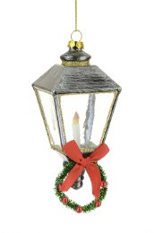 Christmas Decoration Glass Dickens Street Lamp with Hanger 11cm