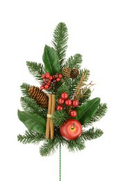 Christmas Silk Flower Spray with Pinecones and berries 60cm