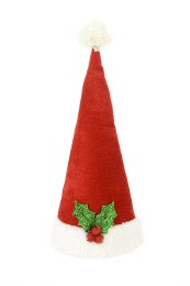 Christmas Tree Topper Red Santa Hat With Holley 45cm
