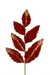 Christmas Luxorious Red Velvet Leaf Spray 69cm