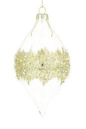 Christmas Bauble Gold Glass Helen Finial 16cm