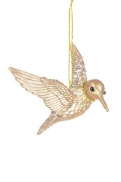 Christmas Acrylic Gold Hummingbird Decoration with Hanger 11.5 x 7cm