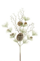 Green Flocked Pine Twig With Cones Spray