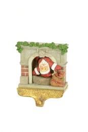 Santa in Fireplace Stocking Hanger