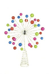 Christmas Tree Topper Multi Colour Starburst on Wire Frame 30cm