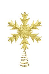 Christmas Tree Topper Gold Snowflake Wire 32cm