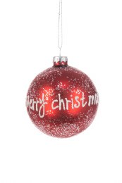 Christmas Glass Red Merry Christmas Bauble with Hanger 8cm