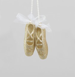 Christmas Decoration Ballet Shoes Gold with White Ribbon 12cm