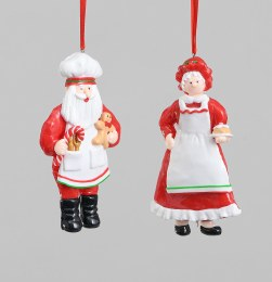 Christmas Santa or Mrs Clause Hanging Decoration 13cm
