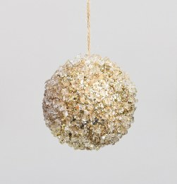 Christmas Bauble Coral Ball Champagne 10cm