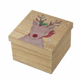 Christmas Eve Wooden Box 20x20x14cm with Reindeer