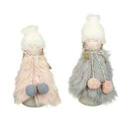 Christmas Pink and Grey Fluffy Angel Plush