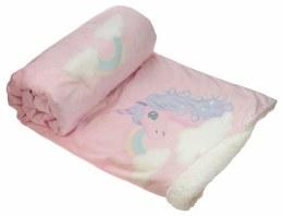 Christmas Luxury Unicorn Fleece Throw Pink & White 140cm x 160cm
