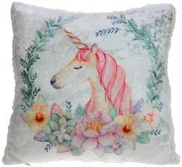 Christmas Luxury Unicorn Cushion with Shiny White Teddy 34cm x 34cm