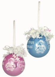 Baby's First Christmas Bauble in Pink or Blue 8.5cm