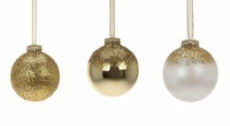 Christmas Bauble Gold or Gold Glitter or Pearl White with Hanger 6.5cm