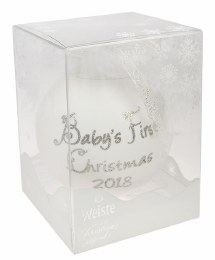 Baby's First Christmas Bauble in Gift Box White 8.5cm