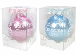 Baby's First Christmas Bauble in Pink or Blue in Gift Box 8.5cm