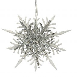 Christmas Bauble Filigree Star Snow & Silver Glitter 3D with Hanger 12cm