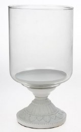 Glass Tealight Holder on Metal Stand 23cm White