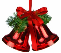 Christmas Double Bells Red With Green Branch & Red Bow 10cm