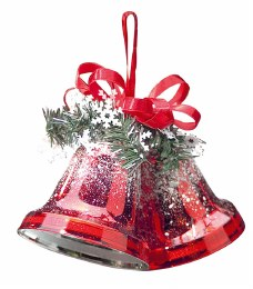 Christmas Double Bells Shiny Red with Frosted Snow Effect 10cm