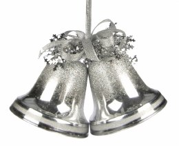 Christmas Double Bells Silver Frosty 10cm