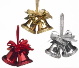 Christmas Double Bells Red Gold or Silver with Bow 6cm