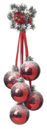 Christmas Bauble Cluster of 5 Red 100mm Balls with Green Branch & Ribbon