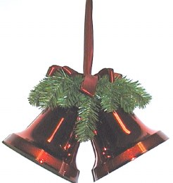 Christmas Bells Red With Green Branch & Red Bow 20cm