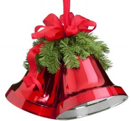 Christmas Double Bells Red with Red Bow 25cm