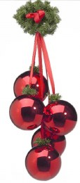 Christmas Bauble Cluster of 5 Red 150mm Balls with Green Branch & Ribbon