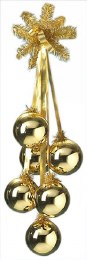 Christmas Bauble Cluster of 6 Gold 100mm Balls with Gold Branch and Ribbon