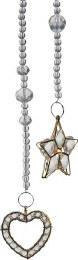 Christmas Decoration Glass Crystal Chain with Gold Heart & Star Design 55cm