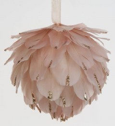 Christmas Bauble Feather Ball Pink 10cm