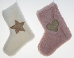 Christmas Stocking Pink or White Fur with Gold Decorations 19cm x 16cm