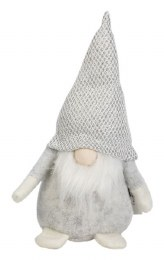 Christmas Plush Gonk Santa Claus with Light Grey & Silver Shiny Hat 20cm