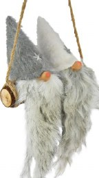 Christmas Plush Gonk Santa Claus with White Beards on Swing 20cm x 28cm