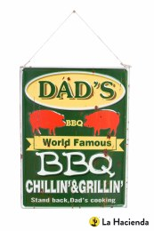 La Hacienda Embossed Steel Sign ''Dad's BBQ''