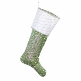 Christmas Stocking Peace On Earth Green with White Trim 58.5cm