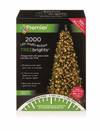 2000 Vintage Gold Multi-Action Treebrights LED Christmas Lights 50m Cable with Timer