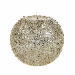Christmas Candle Glass Glitter Silver Beads on Crackle Ball Votive 10cm