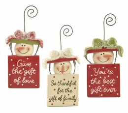 Christmas Sign Snowman  with Hanger 5x10.8cm