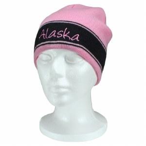 Pink & Navy Alaska Script Knit Hat