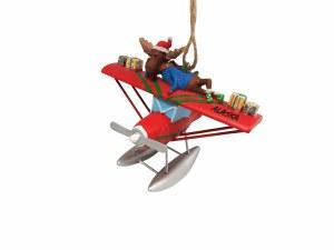 驼鹿浮在飞机阿拉斯加圣诞节装饰品上