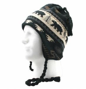 Knit Earflap Hat Bear & Trees